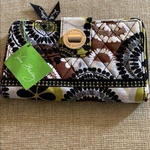 Vera Bradley Turn Lock Wallet Cocoa Moss NWT